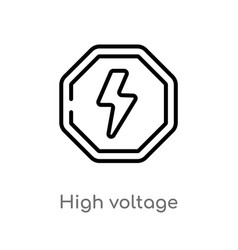 Outline high voltage icon isolated black simple vector