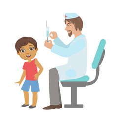 Pediatrician doing a vaccination to little boy vector