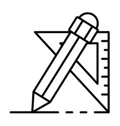 pencil angle ruler icon outline style vector image
