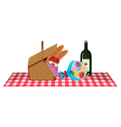 Picnic basket and bottle wine on mat vector