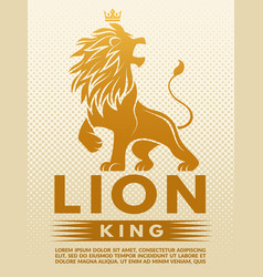 poster with monochrome of lion king vector image