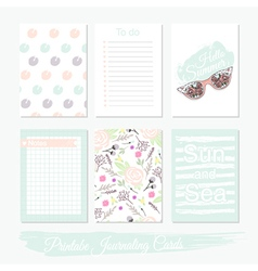 Printable set journaling cards vector