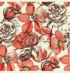 red roses seamless pattern retro style vector image