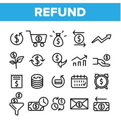 refund e-payment system linear icons set vector image