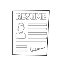 Resume icon in outline style vector