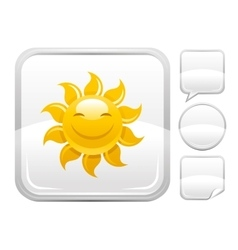 Sea beach and travel icon with smiling sun and vector