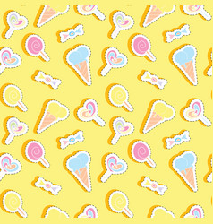 seamless pattern with sweets stickers vector image