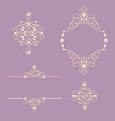 Set collection of elegant golden knot frame signs vector