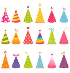 set colorful birthday hats vector image