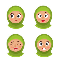set of arab girl with hijab happy face expression vector image