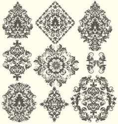 Set ornate ornaments vector