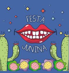 Smile to celebrate the festa junina vector