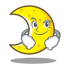 Smirking crescent moon character cartoon vector