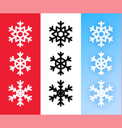 snowflake icon set for christmas holiday vector image