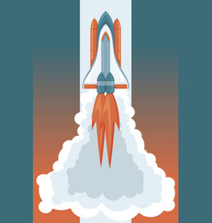 space art rocket launching retro style vector image