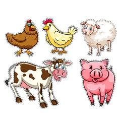 Sticker set with farm animals vector image
