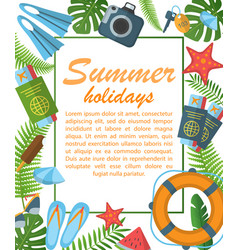 Summer holidays flat poster vector
