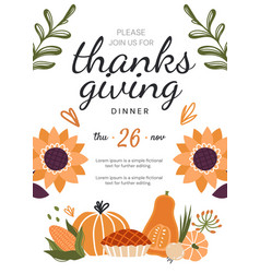 thanksgiving dinner invitation template or design vector image