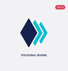 two color polygonal rhomb icon from geometry vector image