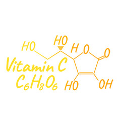 vitamin c label and icon chemical formula and vector image