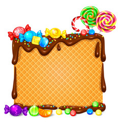 waffles in chocolate and lot bright lollipops vector image