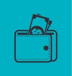 wallet bills money cash design isolated vector image