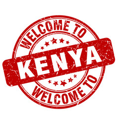 Welcome to kenya red round vintage stamp vector