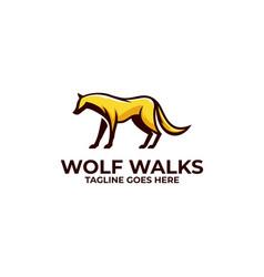 Wolf walks design template vector