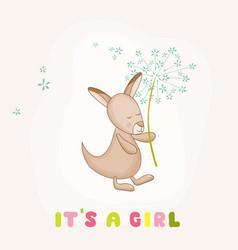 baby girl kangaroo holding flower baby shower card vector image