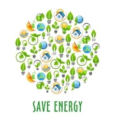 Energy saving round symbol with green power icons vector image vector image