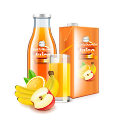 multivitamin juice in glass bottle and packaging vector image