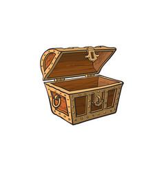 Opened empty wooden treasure chest vector