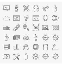 Programming Line Icons Set vector image vector image