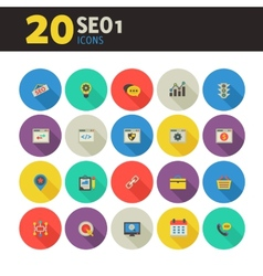 SEO 1 icons on colored round buttons vector image vector image