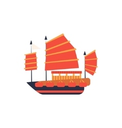 Chines Junk Boat With Red Sail Simplified Icon vector image