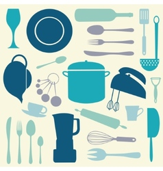 Colorful kitchen set vector image