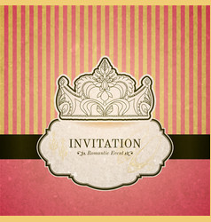 Princess invitation card with crown vector image