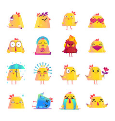 chicken cartoon character icons big set vector image