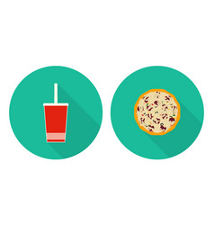 flat set flat cup of cola pizza vector image vector image