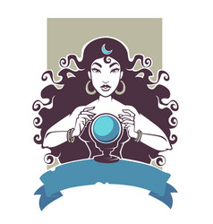 fortune teller beautiful gypsy girl reading vector image vector image