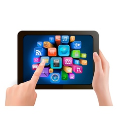 Hand holding touch pad tablet vector image