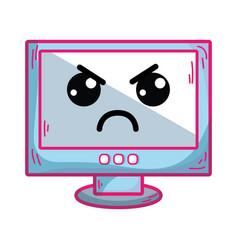 Kawaii cute angry computer technology vector