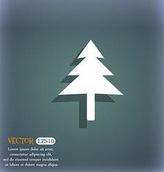 Christmas tree icon symbol on the blue-green vector image