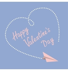Flying paper plane Dashed heart in the sky Happy vector image vector image