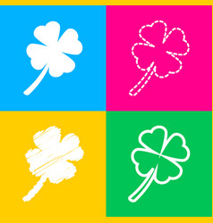 leaf clover sign four styles of icon on four vector image
