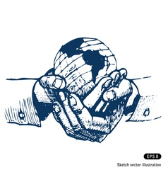 Mans hands holding the earth globe vector image vector image
