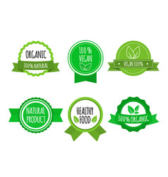set of bio healthy food badges on white background vector image