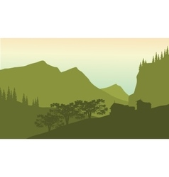 Silhouette of house in hills vector image