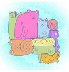 sleepy cat family vector image vector image