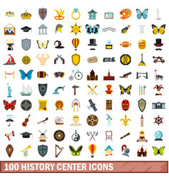 100 history center icons set flat style vector